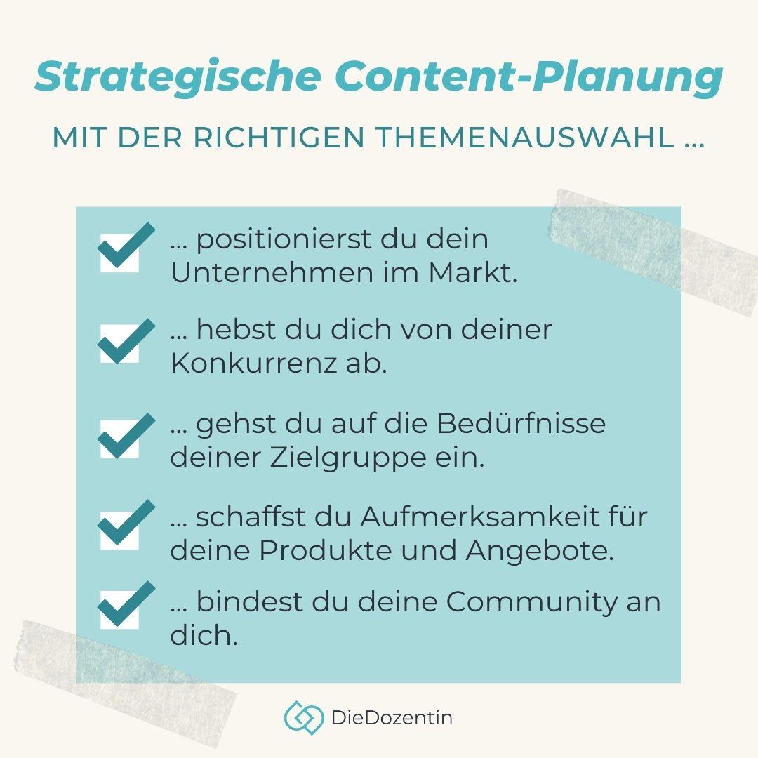 Strategische Content Planung Checkliste